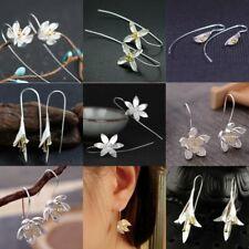 Charm Lotus Flower Silver Statement Hoop Earrings Dangle Drop For Women Jewelry