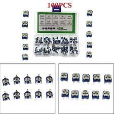 100pcs 10value Potentiometer Trimpot Variable Resistor Assortment Box Kit Fn