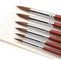 6Pcs Kolinsky Sable Hair Acrylic Round Nail Art Paint Brush Set 2/4/6/8/10/12