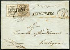 STATO PONTIFICIO - 1855 lettera da Jesi a Bologna, affrancata 8 + 4 Baj 4/2127