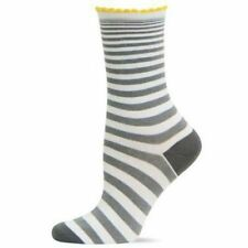 Expand Stripe Scallop Cuff Hot Sox Trouser Crew Sock Grey New Women 9-11 Fashion