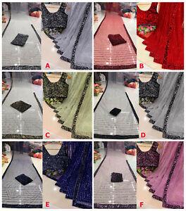 Pakistani Embroidery Sequence Saree NET Sarees Indian Sparkle Sequin Sari Blouse