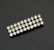 Vintage Clear Rhinestone Silver Tone Barrette Bridal Hair Accessory