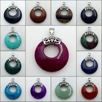 Natural Amethyst Lapis Lazuli Quartz Round Donut Silver Pendant for Necklace