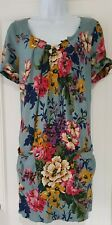 Womens Joules Duck Egg Blue Floral Front Pockets Pleated Tunic Shift Dress 10.