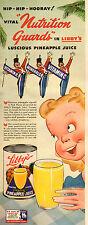 1943 WW2 era AD LIBBY'S Canned Pineapple Juice , Art Cute Cartoon! 031817