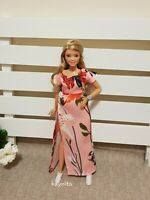 Curvy Pink Floral Blouse and skirt For Your Curvy Barbie Doll Au Made