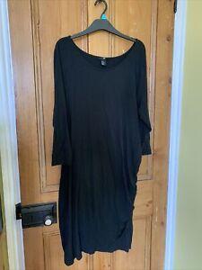 H&M Ladies Black Dress XL 3/4 Sleeves Ruched Side Drape Stretch Scoop Neck