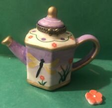 Tea Pot Kettle Dragonfly Trinket Box Porcelain Hinged with mini Flower T V