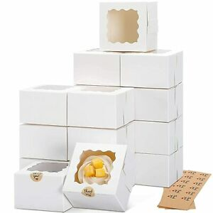 50 Pack Inches White Bakery Boxes With Window Cookie Boxes Mini Cake Boxes