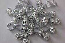 36 Hair Dreadlocks Bead Cuff Clip.Decoration Filigree Tube Silver Color 10mm