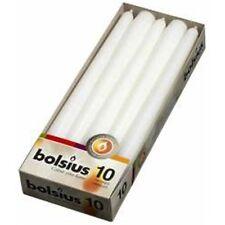 BOLSIUS 50 WHITE NON-DRIP TAPERED DINNER CANDLES, 7.5Hr BURN TIME! BULK BUY!