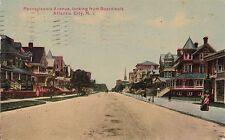 Postcard Pennsylvania Avenue looking from Boardwalk Atlantic CIty NJ