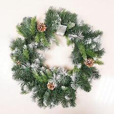 60cm Frosted Glacier Christmas Wreath With Pine Cones
