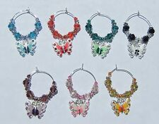 RHINESTONE BEADED BUTTERFLY WINE GLASS CHARMS (SET OF 7)