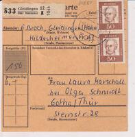 BUND, Mi. 356y, MeF Paketkarte Gleidingen über Hannover, 4.12.62