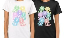 Rainbow cats T-shirt, whimsical cute cats in rainbow colours, black & white tees