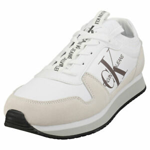 Calvin Klein Runner Sock Lace Up Mens White Fashion Trainers
