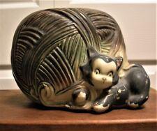 American Bisque Kitten and Yarn Ball Cookie Jar - no lid - grey yarn & black cat