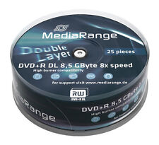 25 MediaRange DVD Rohlinge Double Layer 8.5 GB DVD+R 8x fach Dual Layer