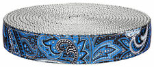 Country Brook Design® 3/4 Inch Blue Paisley on Silver Nylon Webbing, 5 Yards