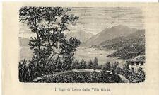Stampa antica BELLAGIO Lago di Lecco da Pescallo Como 1881 Old antique print