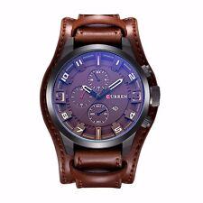 Montre Militaire Sport Homme Curren Quartz Date Neuve Large Bracelet Cuir PROMO