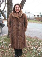 #R 90 BROWN  MINK FUR COAT LEATHER SIDE FIT 8 TO 10