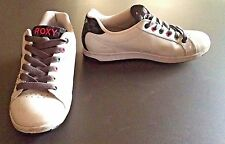 Roxy Laguna Stitch Black & White Leather Low Top Sneakers Skate Shoes Size 8.5 M
