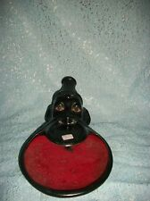 VINTAGE BLACK AFRICAN TRIBAL CERAMIC ASHTRAY WITH LIP PLATE JAPAN RARE 1930'S