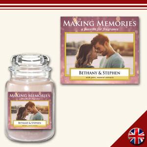 Personalised Photo Candle Label Medium Custom Sticker Present Memorable Fun Gift