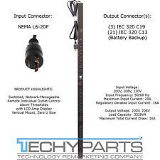 APC AP7940 200/208V 20A NEMA L6-20P (21)C13 & (3)C19 ZeroU Switched Rack PDU