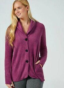 Cuddl Duds Fleecewear Shawl Collar Jacket  Qvc Colour  Fig  Size  Medium RRP £31
