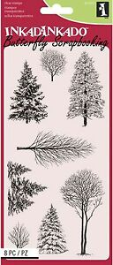 WINTER WONDERLAND TREES Clear Unmounted Rubber 8 Stamps INKADINKADO New 60-31297