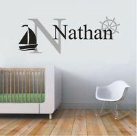 Wall Stickers custom name Sail Nautical wheel vinyl decal Nursery kids removable