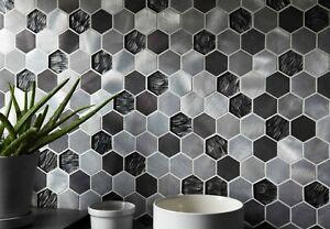 Colby Black Mix Glass & Metal Hexagon Mosaic 50x50mm