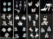 10pcs alloy metal charms beads nickel colour in various shapes