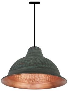 Hand Made Weathered Gypsy Green Patina Copper Dome Ceiling Pendant Lamp Shade