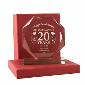 Personalised 20th Anniversary Presentation Gift Anniversary Cut Glass Plaque