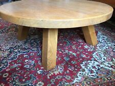 Table basse ronde vintage en chêne massif pour salon H 40 cm diamètre 110 cm