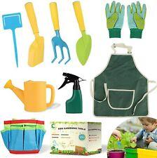 More details for childrens kids girls gardening tools set shovel rake trowel gloves watering can