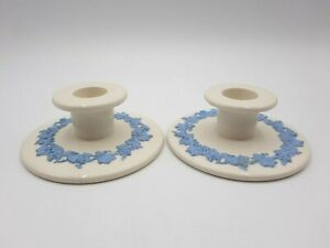 Vtg Wedgwood Embossed Queens Ware Grapes Ivy Blue on Cream Candlestick Holders