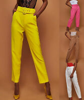 USA Fashion Women High Waist Drawstring Elastic Long Pants Belt Harem Trousers
