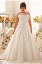 New Plus Size Lace White/Ivory Wedding Dress Bridal Gown Size 14-26 UK