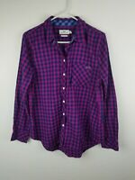 Vineyard Vines Women 10 Pink Navy Gingham Button Front Long Sleeves Casual A24