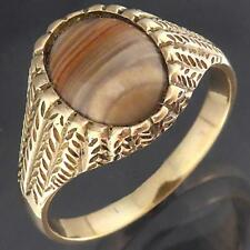 Unusual Solid 9k Yellow GOLD STRIPED AGATE CABOCHON RING Large Sz Z