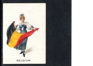 VERY EARLY BELGIUM  PATRIOTIC CIGARETTE CARD, FEMALE HOLDING A LARGE FLAG
