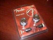 "NEW - Fender ""F"" Logo Strap Lock System, FSLC1 - CHROME, 099-0818-300"