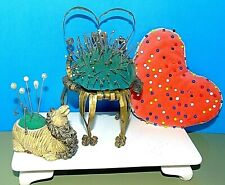 Vintage Sewing Pin Cushions ~ Large Heart, Camel, Tin Chair ~Lot of 3~ Nice!