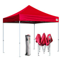 Waterproof 10x10 Red Ez Pop Up Canopy Commercial Party Event Tent W/ Wheeled Bag